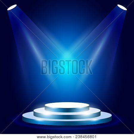 Stage Or Podium With Spotlighting - Award Ceremony Stage, Blue Podium Scene