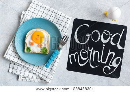 Good Morning Breakfast For Kids. Egg Sandwich Chicken. Creative Food Art Sandwich. Cute Funny Chicke