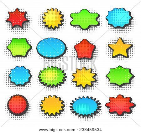 Colorful Speech Bubbles. Retro Cartoon Bubble Set With Halftone Pop Art Design Vector Illustration F