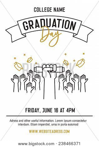 Graduation Ceremony Party Invitation Card With Hands Raised Throwing Academic Hats Up And Showing Di
