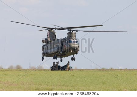 Berlin / Germany - April 28, 2018: Military Transport Helicopter Chinook From Boing Rotor Craft Syst