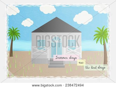 Vector Illustration With Seaside Scene: House, Sand, And Palm Tree. Summer Card With Beach House And