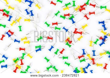 Set Of Push Pins In Different Colors. Frame Of Thumbtacks On White. Top View.push Pins Isolated On W