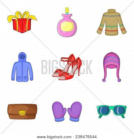 Buying Spree Icons Set. Cartoon Set Of 9 Buying Spree Vector Icons For Web Isolated On White Backgro