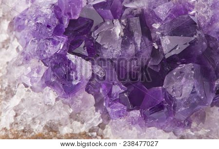 Macro Structure Of Natural Violet Amethyst Gem Stone Crystals Texture