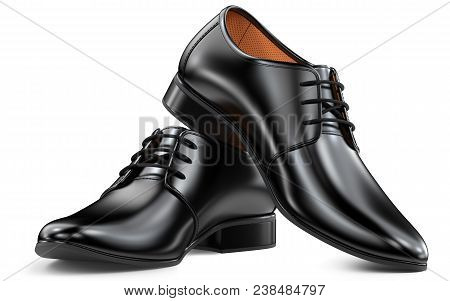 Men's Fashion Shoes Black, Classic Design. Pair Of Manly Boots 3D Rendering Isolated On White Backgr
