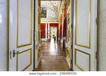 Saint Petersburg, Russia - March 16, 2018: People In Halls Of Hermitage Museum. The State Hermitage