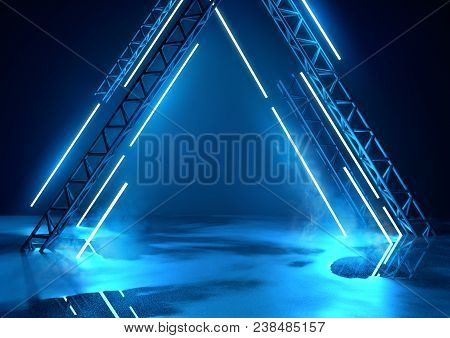 Futuristic Glowing Neon Stage In Blue. Concert Background With Product Placement Platform. 3d Illust