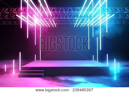 Stage With Neon Lighting Background With Blank Platform For Concert Or Product Placement. 3d Illustr