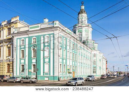 Saint Petersburg, Russia - March 18, 2018: Edifice Of Kunstkamera (peter The Great Museum Of Anthrop