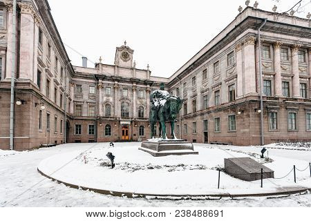 Saint Petersburg, Russia - March 19, 2018: Statue Of Alexander Iii In Yard Of Marble Palace. The Pal