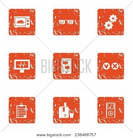Technical Genius Icons Set. Grunge Set Of 9 Technical Genius Vector Icons For Web Isolated On White