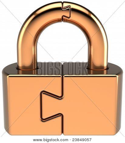 Lock padlock closed puzzle guard icon concept