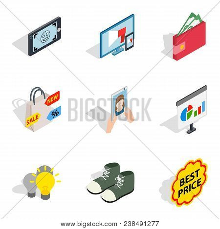 Purchase Of Clothes Icons Set. Isometric Set Of 9 Purchase Of Clothes Vector Icons For Web Isolated