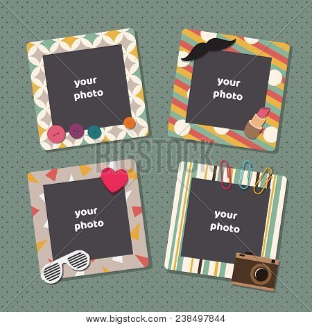 Vintage Scrapbook Picture Frames. Retro Kids Birthday Photo Frame Vector Templates. Picture Frame, A