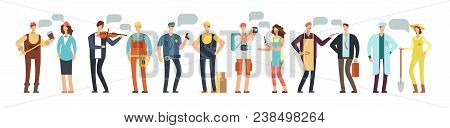 Man And Woman Specialist And Employee. Group Of People Different Professions With Blank Speech Bubbl