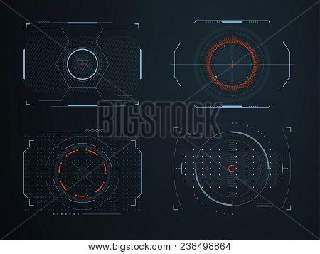 Futuristic Helmet Hud Screens Cockpit View. Glowing Visual Display Vehicle Technology. Interactive I