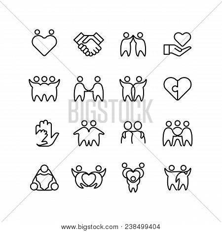 Friend, Buddy And Gay Line Icons. Friendship, Harmony And Friendly Outline Symbols Isolated. Friends