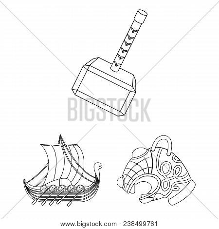 Vikings And Attributes Outline Icons In Set Collection For Design.old Norse Warrior Vector Symbol St