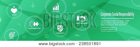 Csr - Corporate Social Responsibility Web Banner With Icon Set W Honesty, Integrity, Collaboration,
