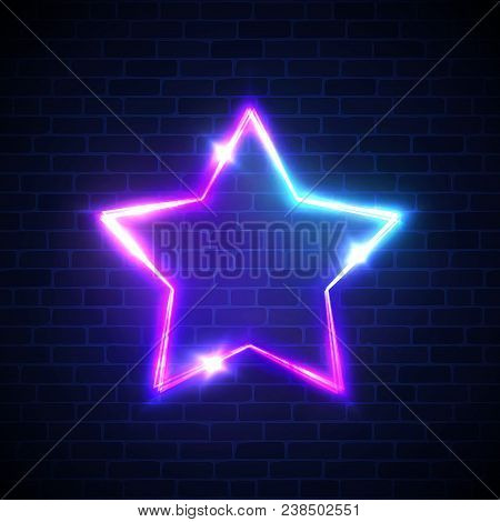 Abstract Star Neon Signage. Techno Glowing Electric Game Frame On Dark Blue Brick Wall Background. N