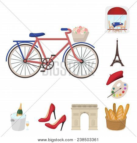 Country France Cartoon Icons In Set Collection For Design. France And Landmark Vector Symbol Stock