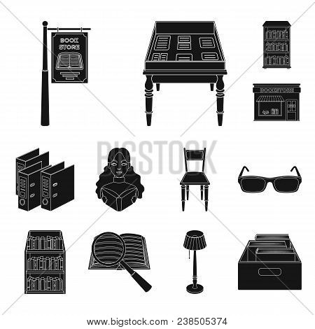 Library And Bookstore Black Icons In Set Collection For Design. Books And Furnishings Vector Symbol