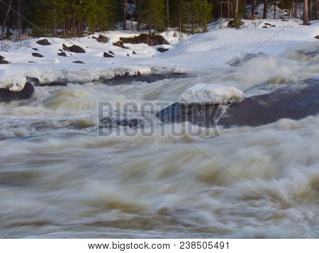 Storforsen Waterfall In North Of Sweden Is A Large White Water,