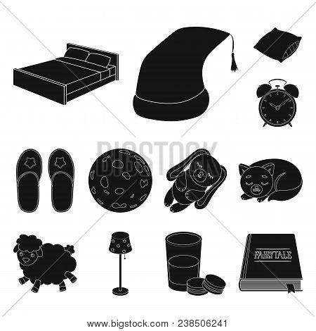 Rest And Sleep Black Icons In Set Collection For Design. Accessories And Comfort Vector Symbol Stock