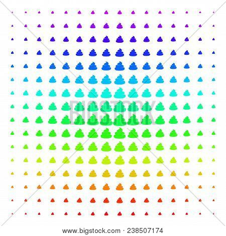 Crap Icon Spectrum Halftone Pattern. Vector Crap Pictograms Organized Into Halftone Grid With Vertic
