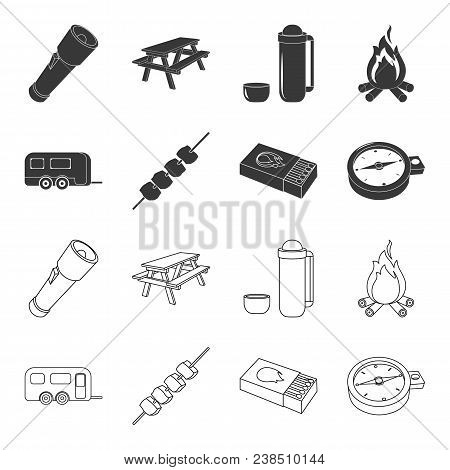 Trailer, Shish Kebab, Matches, Compass. Camping Set Collection Icons In Black, Outline Style Vector