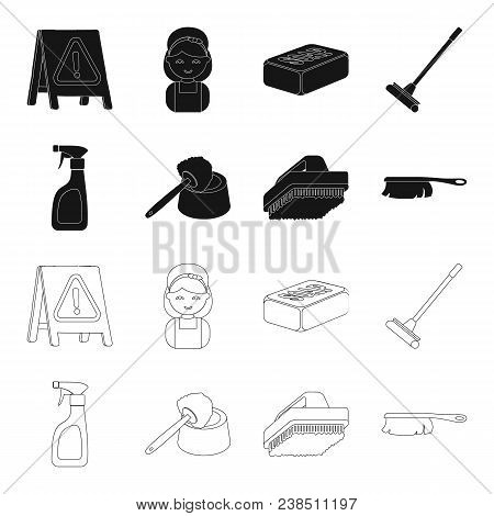 Cleaning And Maid Black, Outline Icons In Set Collection For Design. Equipment For Cleaning Vector S