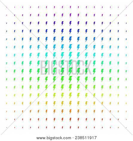Electric Strike Icon Spectral Halftone Pattern. Vector Electric Strike Symbols Organized Into Halfto