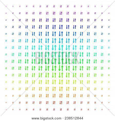 Exchange Arrows Icon Spectral Halftone Pattern. Vector Exchange Arrows Shapes Organized Into Halfton