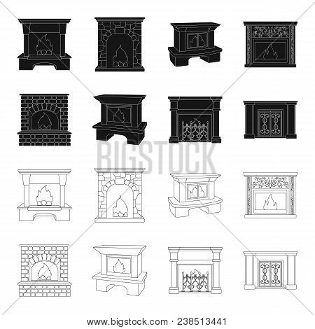 Fire, Warmth And Comfort.fireplace Set Collection Icons In Black, Outline Style Vector Symbol Stock