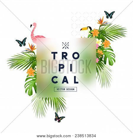 Tropical Rainforest Frame With Palm Tree Leaves, Floral Elements, And Wildlife. Vector Illustration