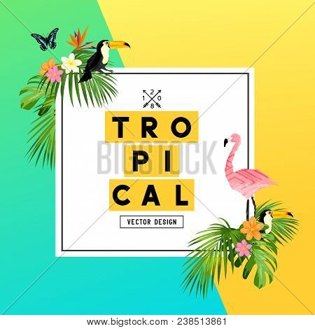 A Bright And Colorful Tropical Summer Design With Plumerias, Tropical Birds And Jungle Palm Leaves.