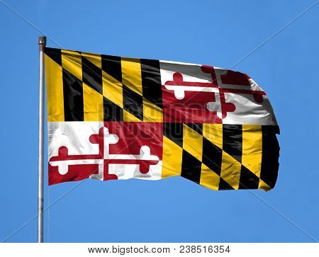 National Flag State Of Maryland On A Flagpole In Front Of Blue Sky.