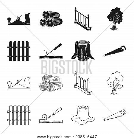 Fence, Chisel, Stump, Hacksaw For Wood. Lumber And Timber Set Collection Icons In Black, Outline Sty