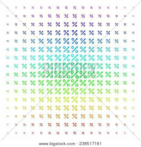 Growing Percent Icon Spectrum Halftone Pattern. Vector Growing Percent Shapes Organized Into Halfton