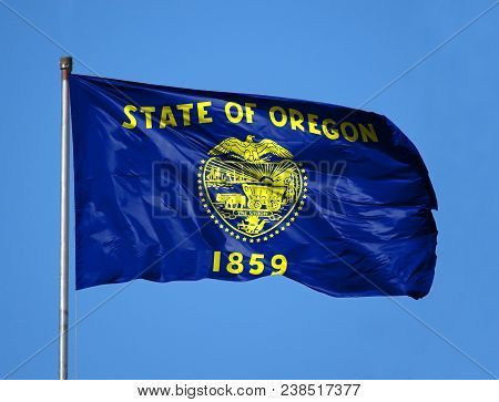 National Flag State Of Oregon On A Flagpole In Front Of Blue Sky.