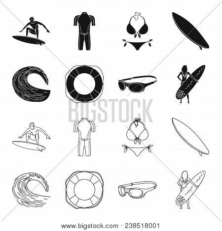 Oncoming Wave, Life Ring, Goggles, Girl Surfing. Surfing Set Collection Icons In Black, Outline Styl