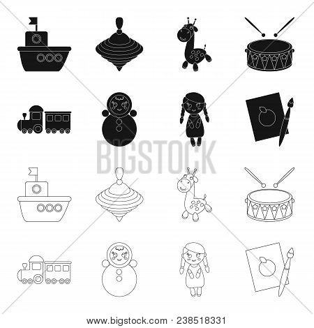 Train.kukla, Picture.toys Set Collection Icons In Black, Outline Style Vector Symbol Stock Illustrat