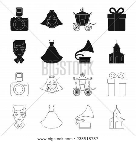 Wedding Dress, Groom, Gramophone, Church. Wedding Set Collection Icons In Black, Outline Style Vecto