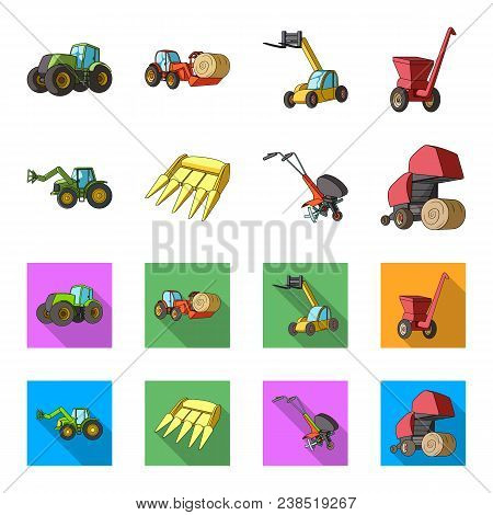 Motoblock And Other Agricultural Devices. Agricultural Machinery Set Collection Icons In Cartoon, Fl
