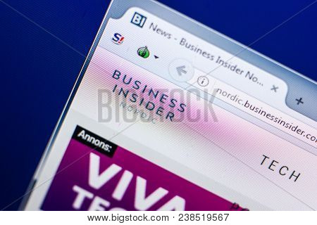 Ryazan, Russia - April 29, 2018: Homepage Of Businessinsider Website On The Display Of Pc, Url - Bus