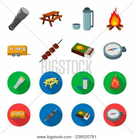 Trailer, Shish Kebab, Matches, Compass. Camping Set Collection Icons In Cartoon, Flat Style Vector S