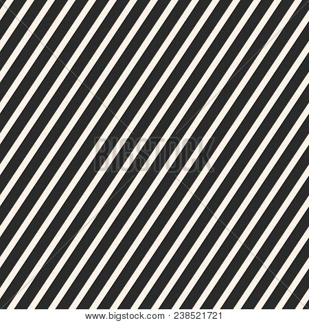 Diagonal Stripes Pattern. Vector Seamless Striped Texture. Abstract Monochrome Geometric Background