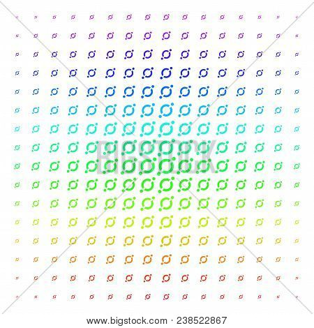 Node Link Icon Rainbow Colored Halftone Pattern. Vector Node Link Items Arranged Into Halftone Grid