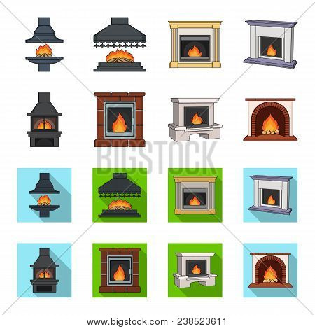 Fire, Warmth And Comfort. Fireplace Set Collection Icons In Cartoon, Flat Style Vector Symbol Stock